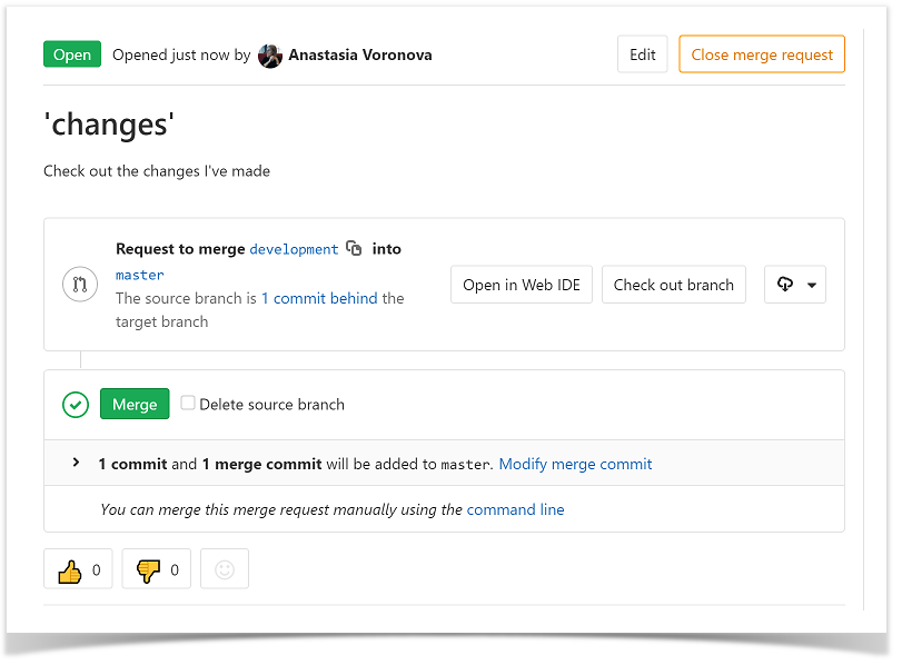 how to merge branches in GitLab